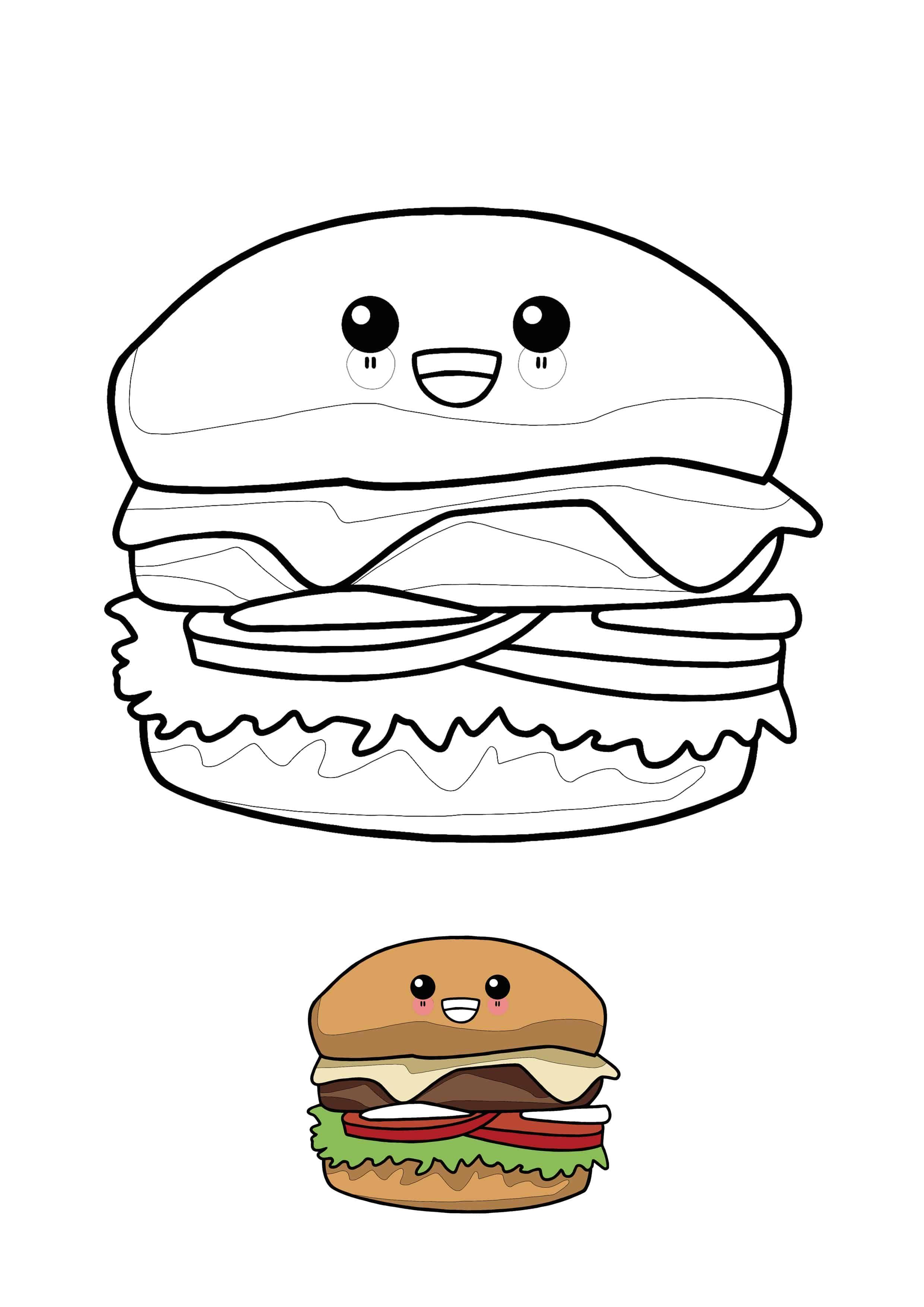 Kawaii Hamburger Coloring Page With Sample Coloring Pages Kawaii Free Printable Coloring