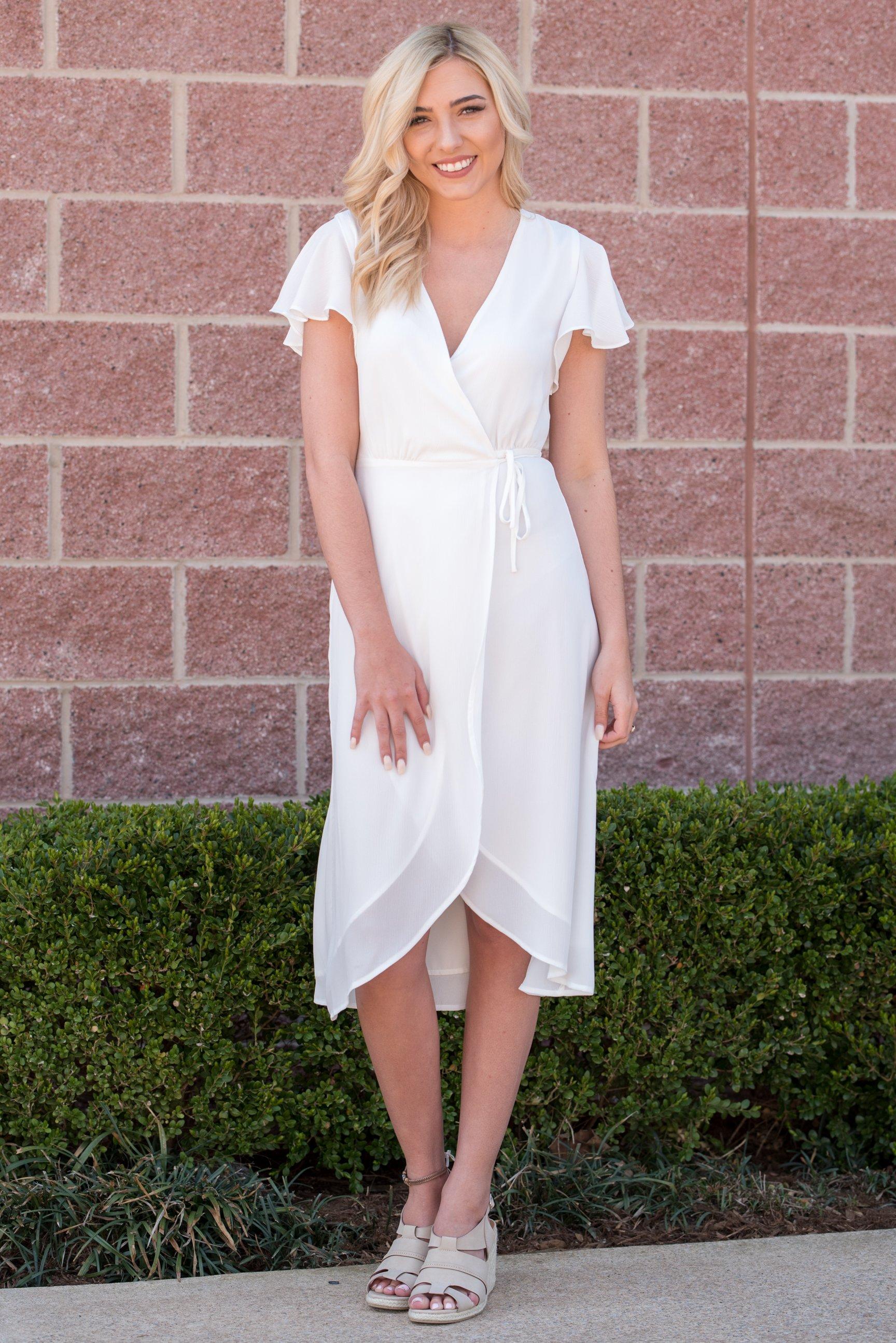 58b82be24904 Ruffle sleeve midi wrap dress off white