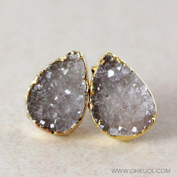 Grey Druzy Post Earrings Druzy Stud Earrings 14K GF by OhKuol