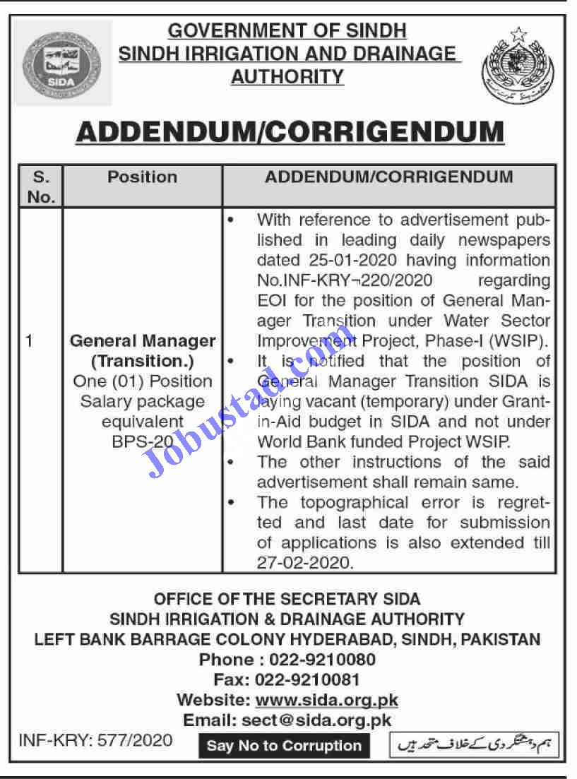 Sindh Irrigation And Drainage Authority Jobs February 2020 In 2020