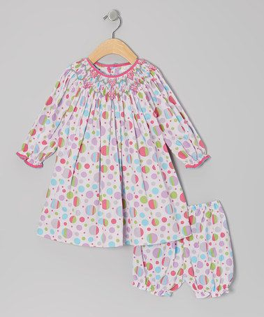 Take a look at this Pink & Lavender Polka Dot Bishop Dress & Bloomers - Infant by Petit Ami on @zulily today!