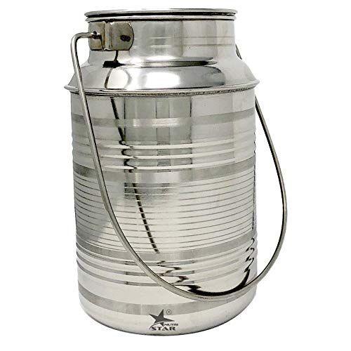 Nutristar Stainless Steel Milk Storage Can Milk Canister Capacity 3 Litres Milk Storage Steel Brass Gift