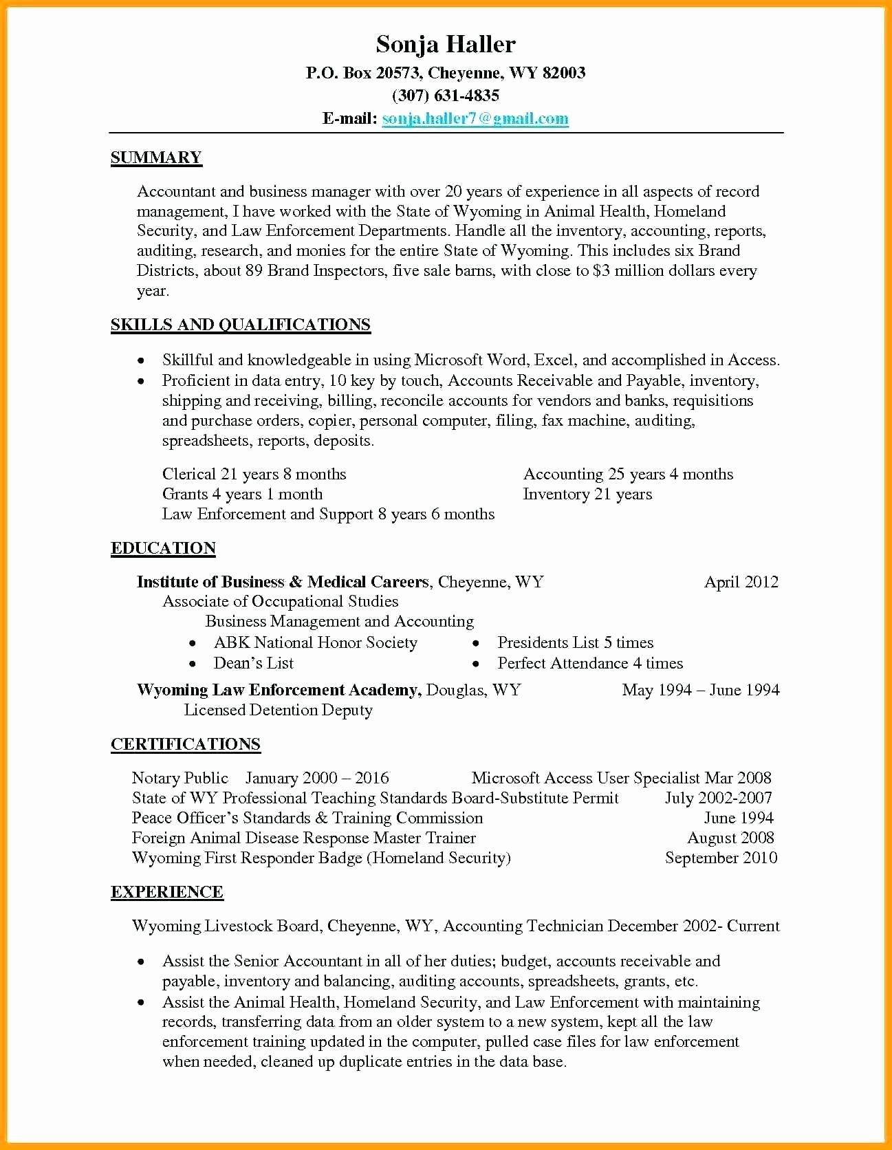 Accounts Payable Specialist Resume Fresh Resume Examples By Real People Inventory Specialist Sample