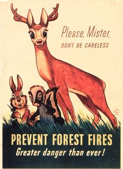 A Forest Fire Prevention Poster Featuring Bambi Smokey The Bears