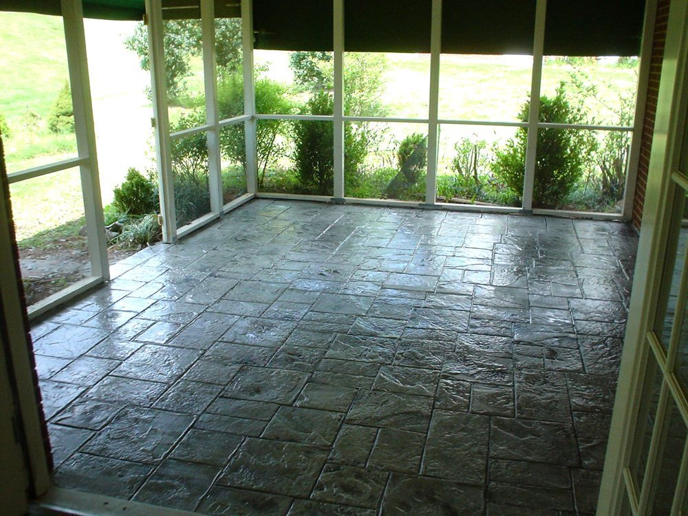 Stamped Concrete Overlay On A Screened Porch In Lynchburg
