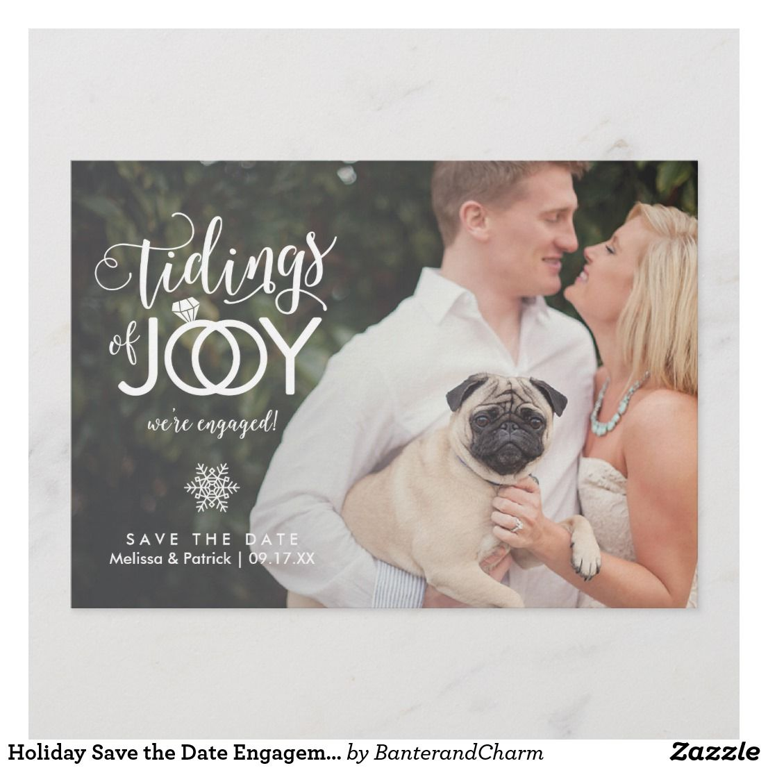 Holiday Save the Date Engagement Christmas Card in 2018 | { Wedding ...