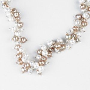 Wrapture Necklace: Champagne and White Pearl. New Orleans Jewelry. DGJewelry.
