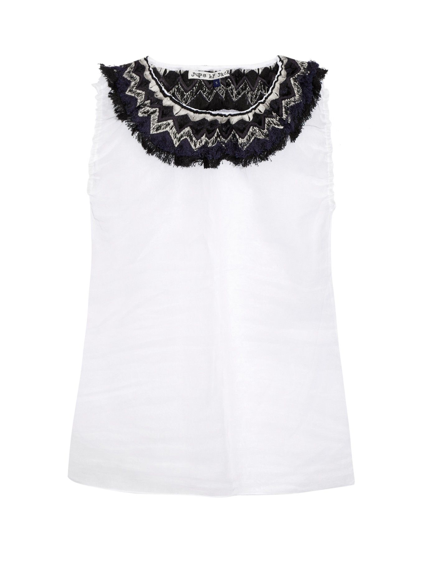 Jupe by Jackie lifts this white sheer cotton-organdie Vinas top with its signature intricate embellishment.