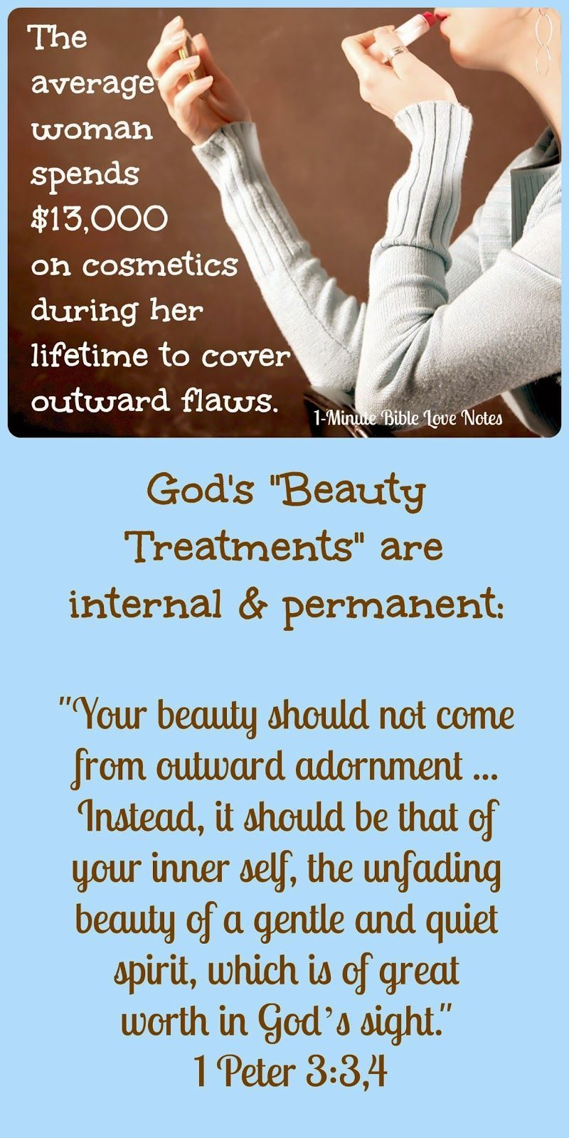 God Makes us Beautiful on the Inside 1-Minute Bible Love Notes: Non-Cosmetic Changes1-Minute Bible Love Notes: Non-Cosmetic Changes