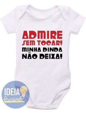 0a17d2668 Body Infantil - Dinda não deixa Frases Para Afilhada