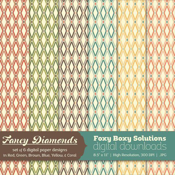 Fancy Diamond Patterns Digital Paper Pack Set By Foxyboxydigital