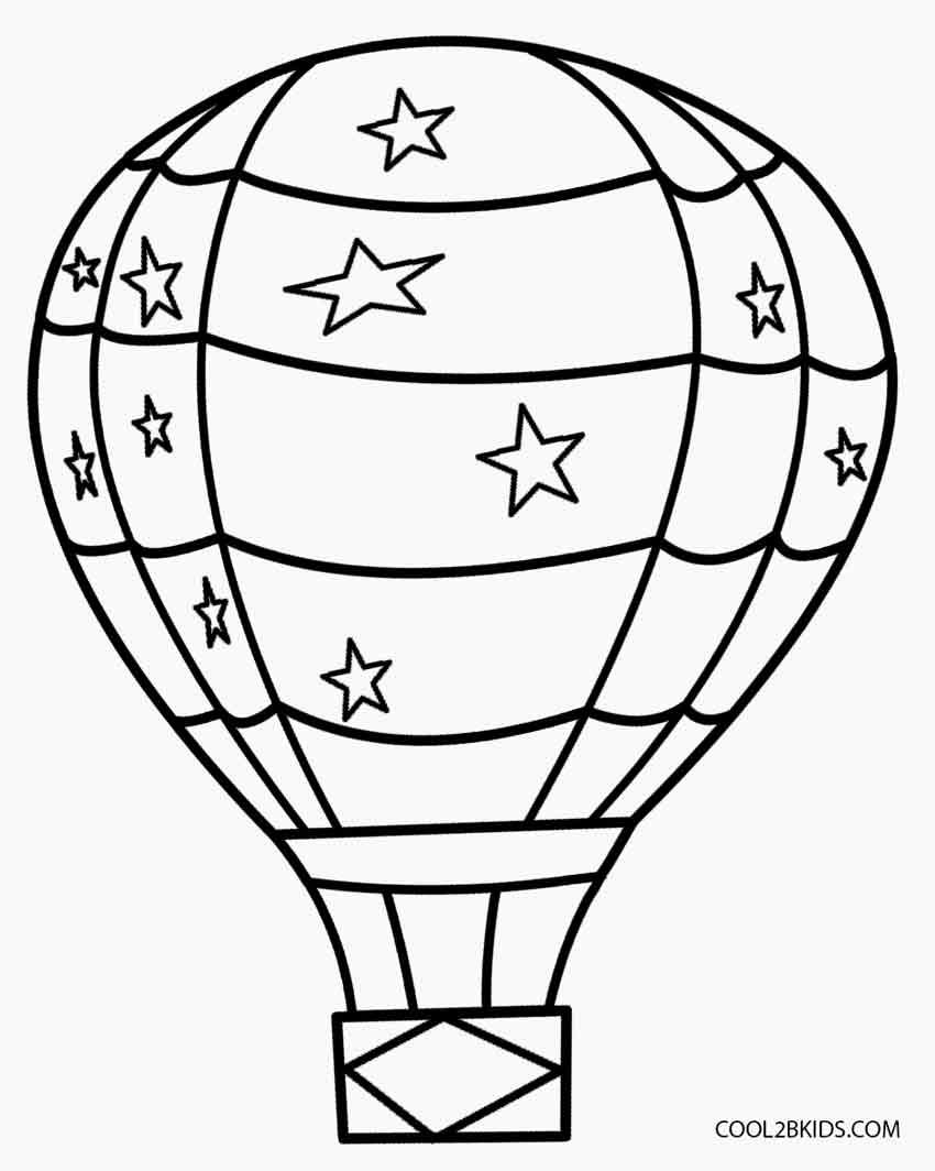 Hot Air Balloons Coloring Pages For Toddlers