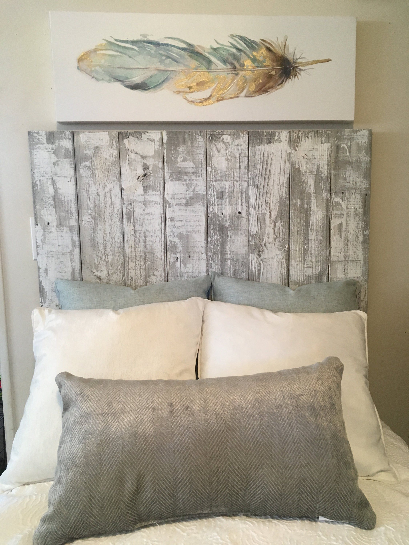 Farmhouse Whitewash Reclaimed Wood Rustic King Queen Full Twin