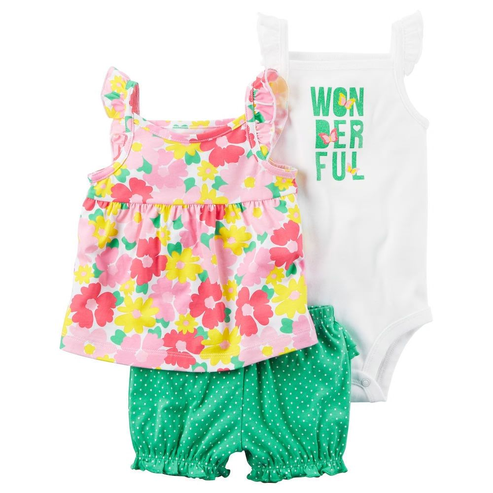 ad Carters 18 Months Baby Girl Clothes 3pc Floral Top Bodysuit   Shorts Set  NWT ... aa805403b491