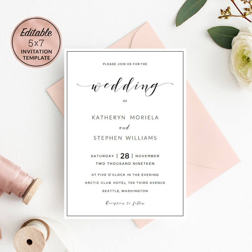 Modern Wedding Invitation Template Download, Calligraphy Wedding ...