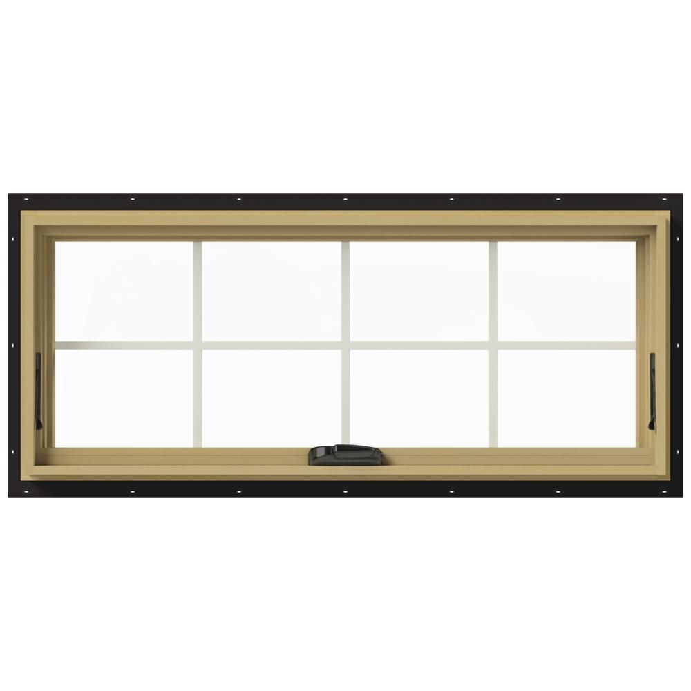 Jeld Wen 48 In X 20 In W 2500 Series Black Painted Clad Wood Awning Window W Natural Interior And Screen Thdjw143300173 Window Awnings Aluminum Awnings