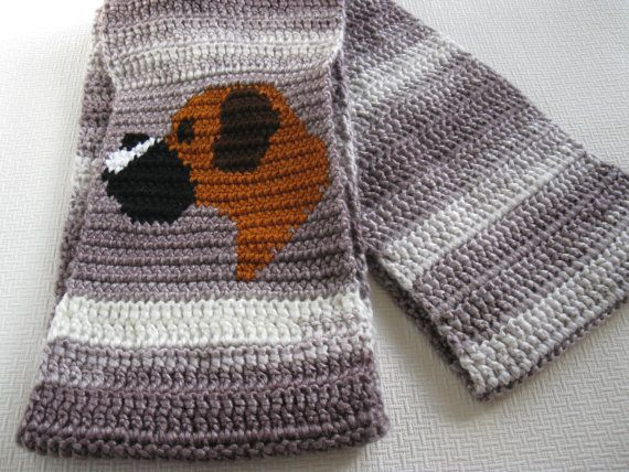 Knitting Patterns For Boxer Dogs : Boxer Dog Scarf. Crochet circle scarf with a boxer dog. Striped infinity dog ...