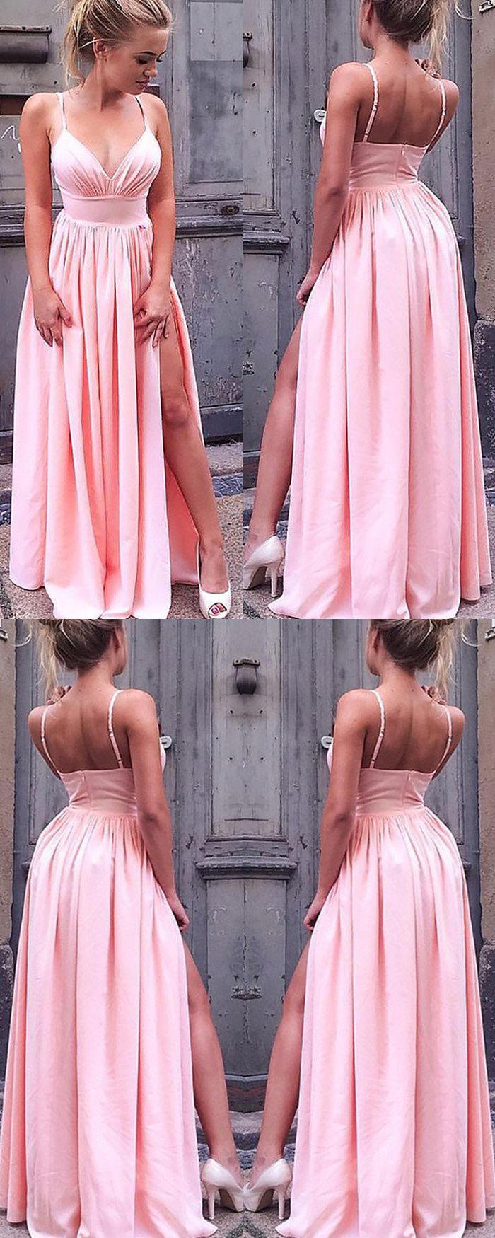 Spaghetti Straps Pink Pleated Long Prom Dress with Side Slit PM1118 is part of Prom dresses long pink - We offer high quality spaghetti straps pink pleated long prom dress with side slit, custom size and color, no extra cost, enjoy your shopping!
