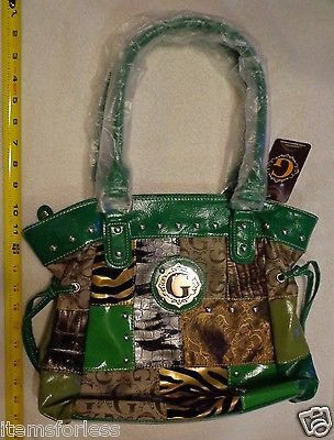 Womens G Style Satchel Hand Bag BROWN Green TAN Silver New Animal Print patch