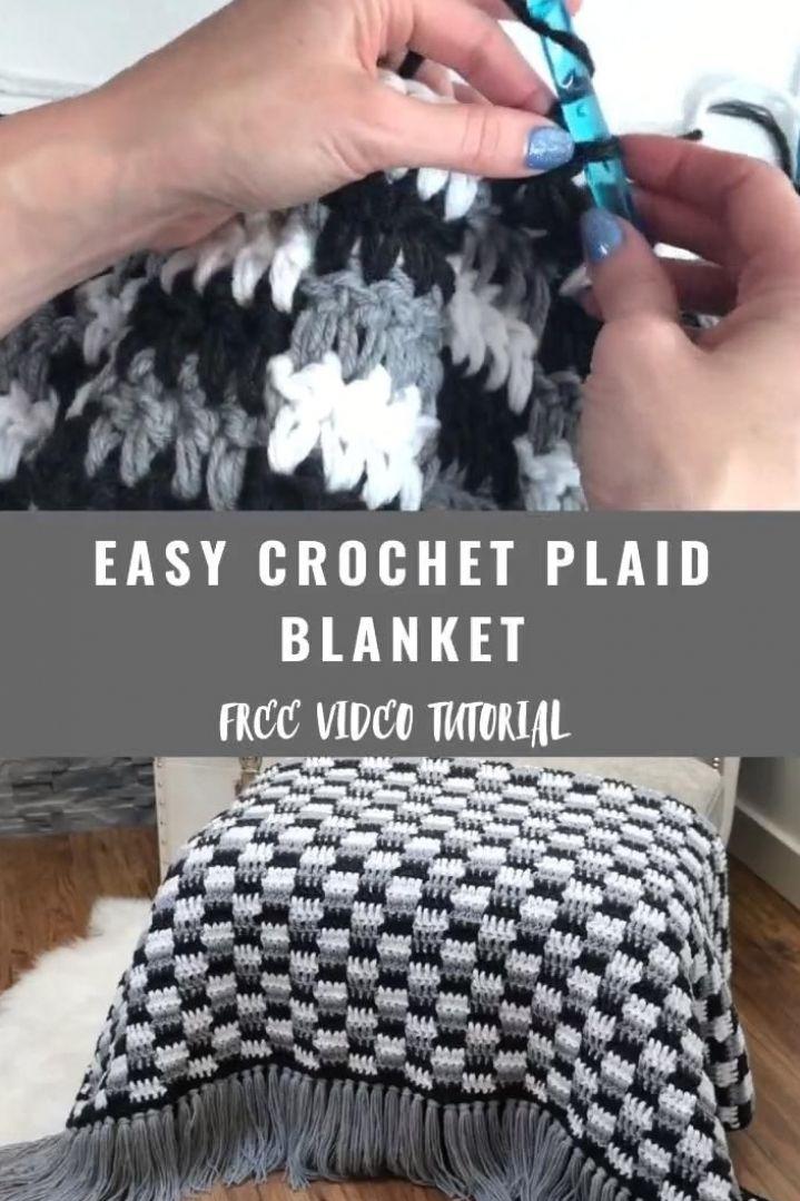 Easy Crochet Plaid Blanket