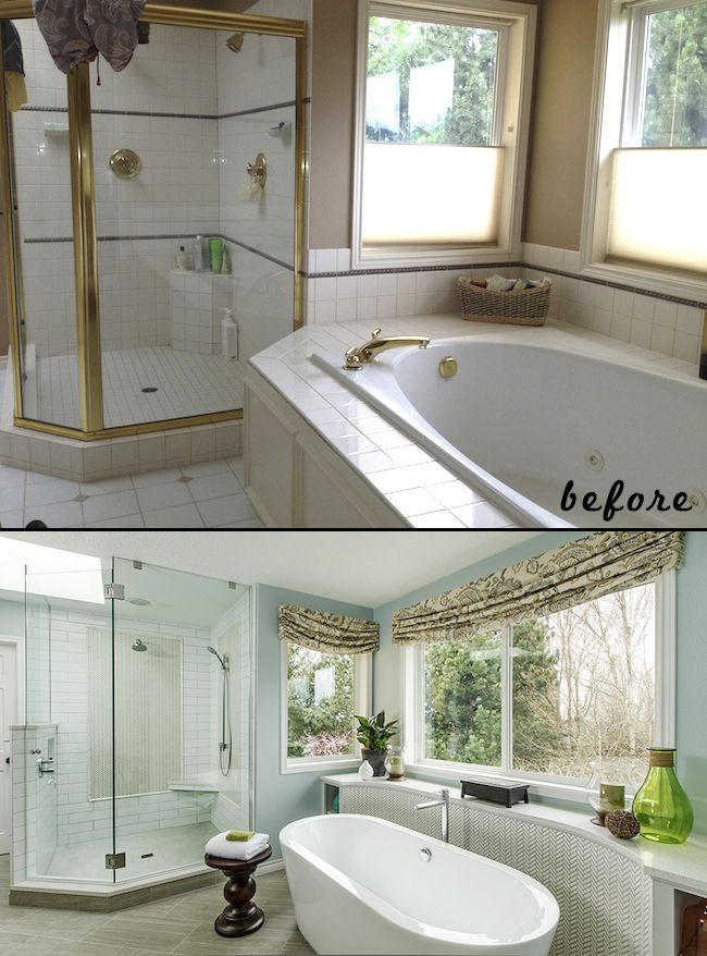 Bathroom update. Before & after. Removing built in tub ...