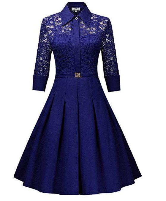 7bc0af3e4a Fashion Lapel Hollow Out 3/4 Sleeve A-Line Knee-Length Dress | sharg ...