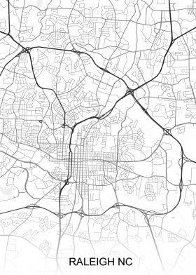 Raleigh NC USA Street Map | North America Street Maps | road map art ...