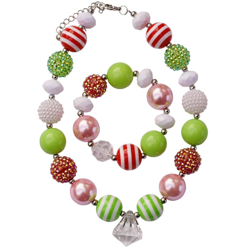 Strawberry Shortcake Inspired Red, Lime and Pink Jewelry Set