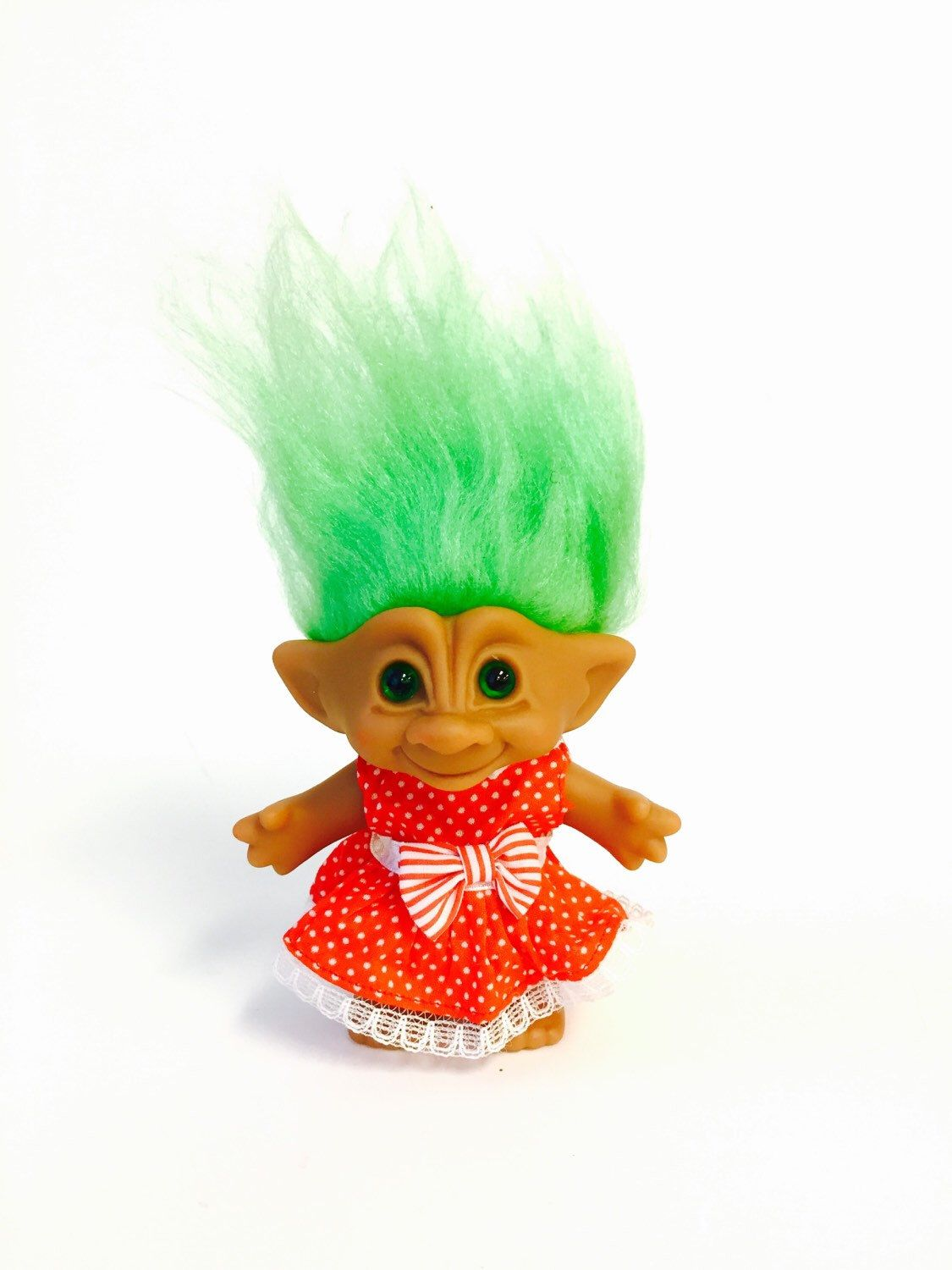 Vintage 80s Troll Doll Neon Green Hair Gem Red And White Polka Dot