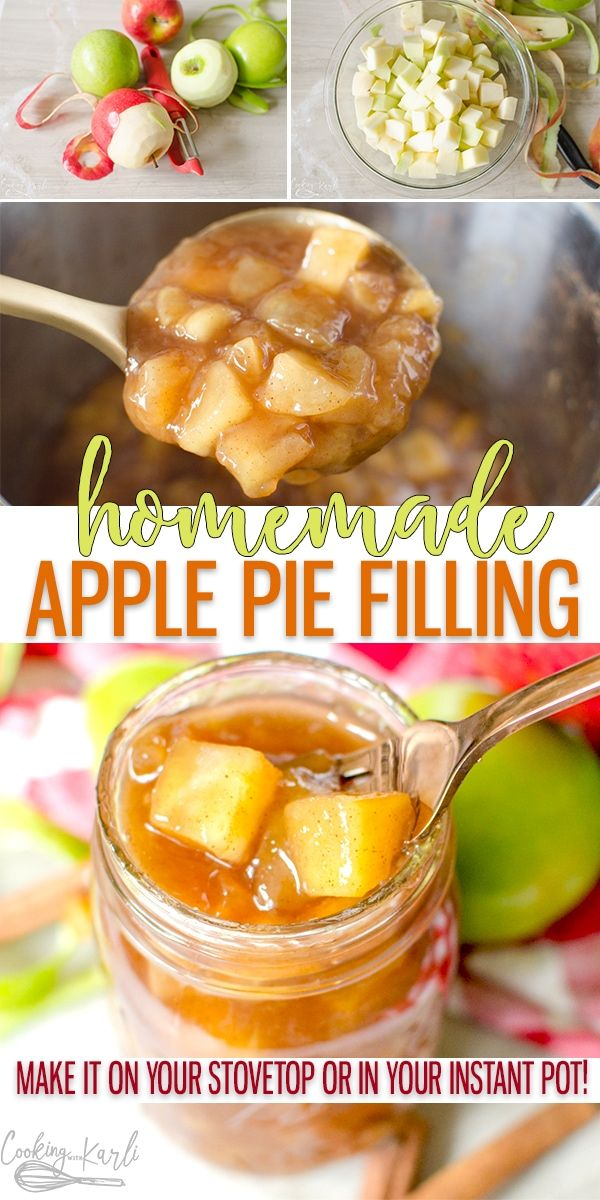 Apple Pie Filling is the homemade version of canned apple pie filling. You won't believe how easy it is to make Homemade Apple Pie filling from this recipe. Make it on the stove top or in your Instant Pot, either way the soft apples covered in the thick brown sugar and cinnamon filling will knock your socks off! |Cooking with Karli| #homemade #applepie #applepiefilling #filling #instantpot #instantpotrecipe #dessert #fall #autumn #applerecipes