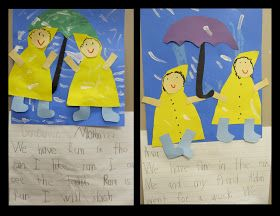 photo of: kindergarten spring writing, writing about rain, writing with umbrellas