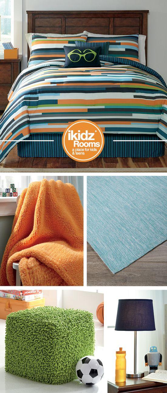 Seventy Stripe Full Top of Bed Set - iKidz Rooms® - Blue, Orange and