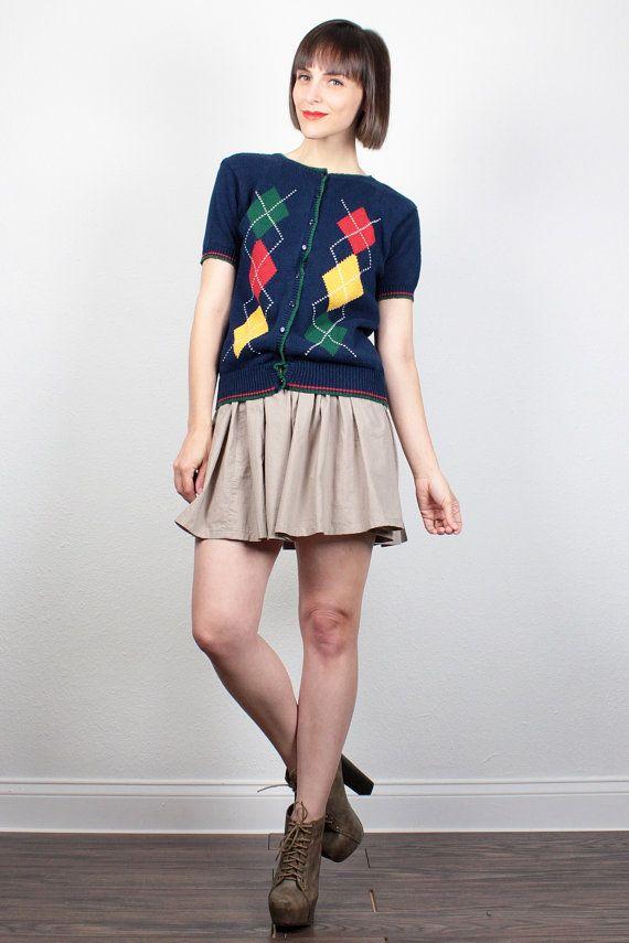 Vintage 1980s Short Sleeve Sweater Preppy Argyle Sweater Button Down Cardigan Jumper 80s Navy Blue Red Green Prep School Uniform Top S M by ShopTwitchVintage #vintage #etsy #80s #1980s #sweater #jumper #cardigan #argyle #preppy