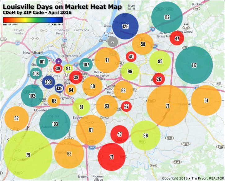 Louisville Days On Market Heat Map Cdom By Zip Code April 2016