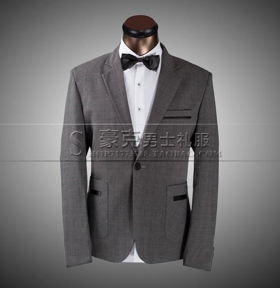 Grey 2017 new arrival plaid slim men suit set pants mens suits ...