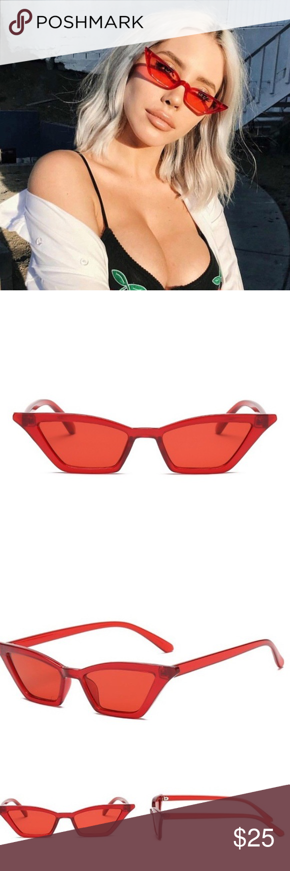 a89b92339f5f6 ️Vintage red tiny cat eye sunglasses Brand new! trendy tiny red cat eye  sunglasses Tiny frames. Red. Great for spring or summer. Vintage style.