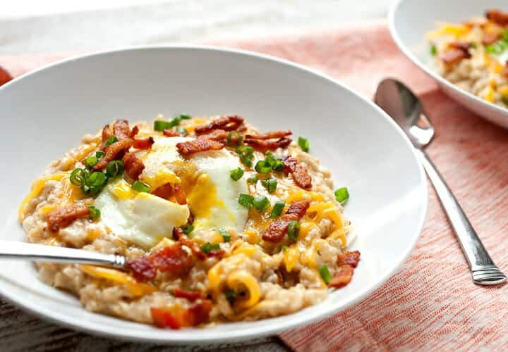 This Cheesy Bacon Savory Oatmeal is a necessary change on the sweet oatmeal that so many people lov