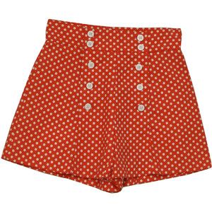 Retro 1950's Shorts (Pantasias) : 50s style (made in 70s) -Pantasias- Womens red and white polka dot print thick cotton and polyester blend high waist sailor girl style wide leg shorts with double anchor etched button down front panel.