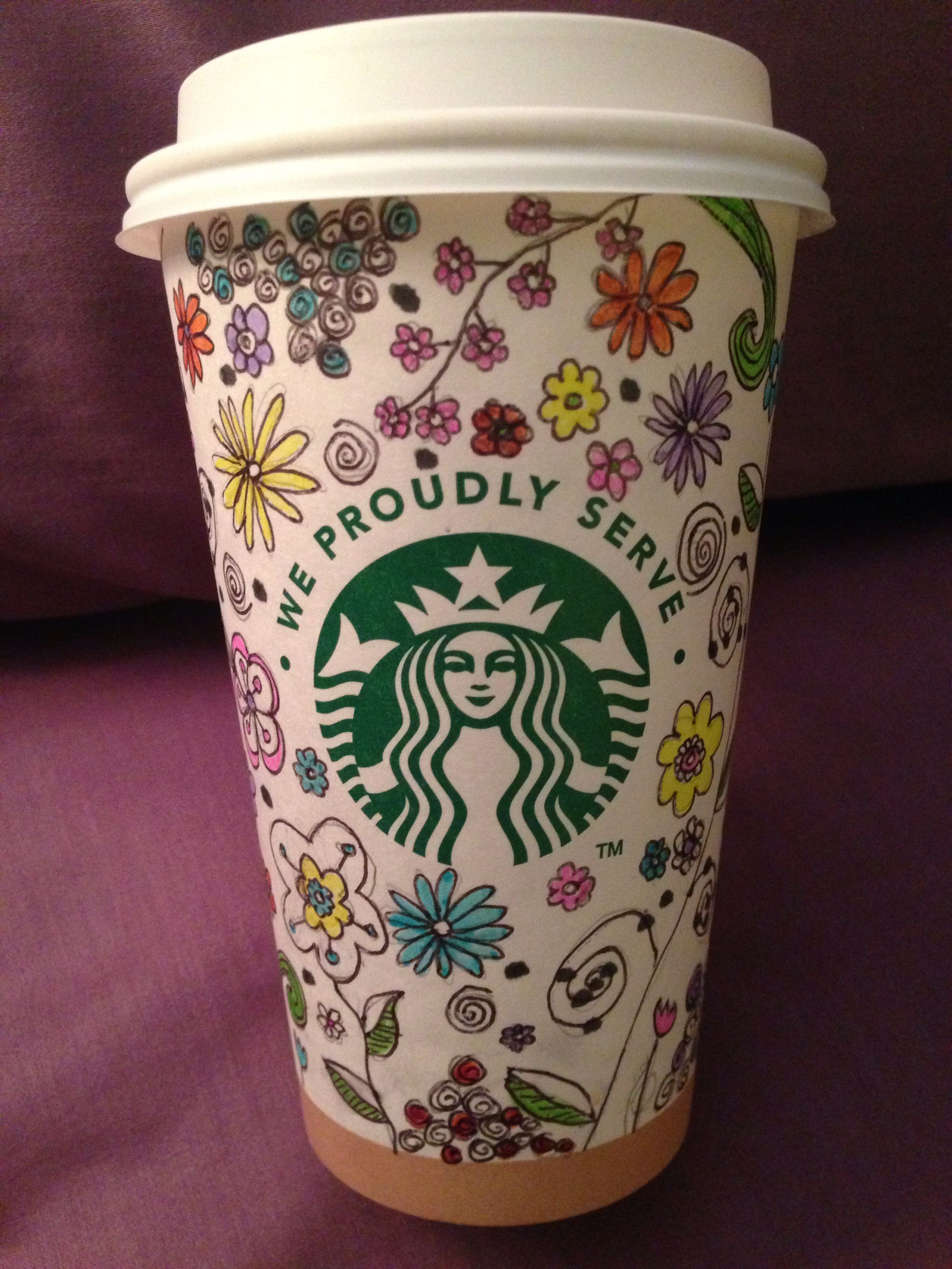 Starbucks cup art. Flowers. Hippie. By D who doodles
