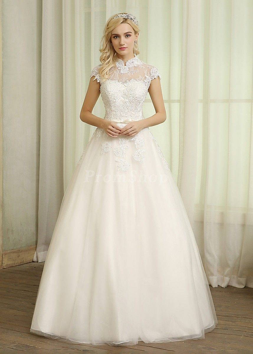 Outstanding laceup high neck cap sleeves long wedding dresses in