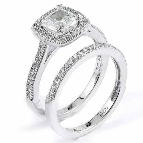 Sterling Silver Rhodium Plated And Cushion Cut CZ Halo Wedding Set