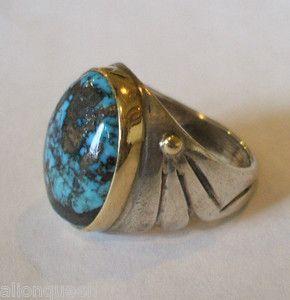 Vintage Navajo Orville Tsinnie Huge Turquoise Mans Ring Sterling Silver 14k Gold   eBay