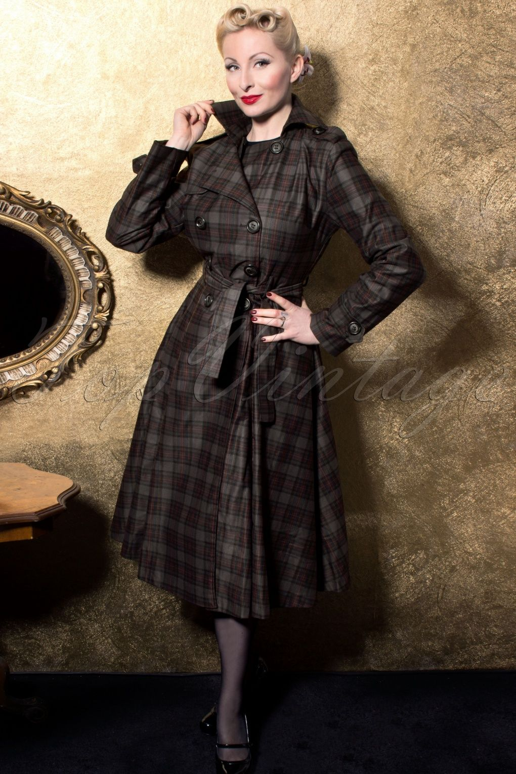 Dietrich Check Trench Coat
