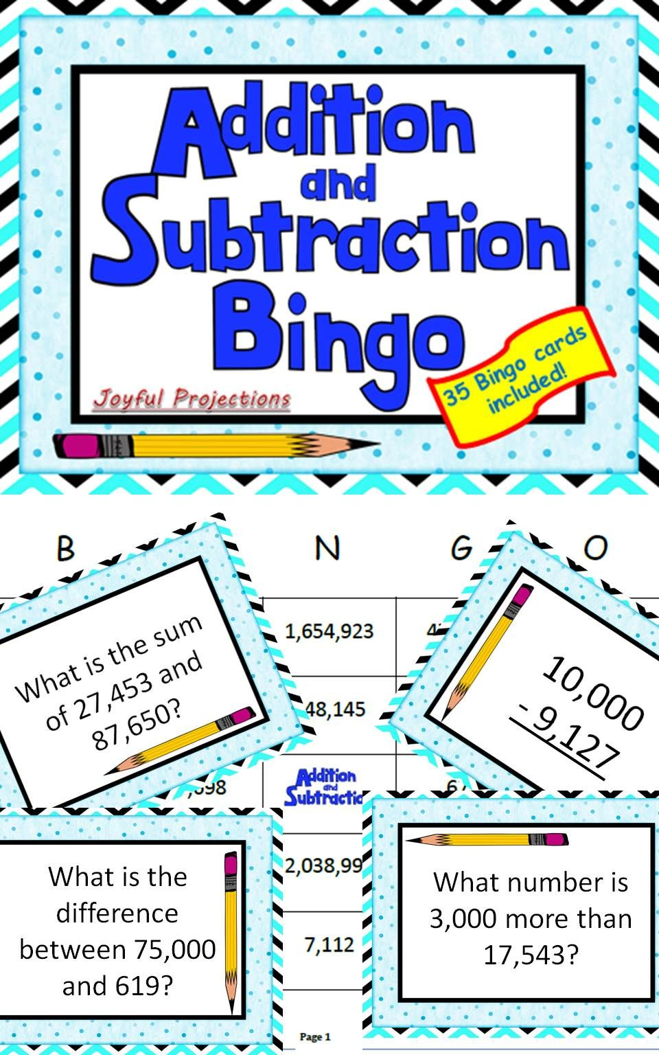 Addition and Subtraction Bingo - Classroom Activity w/ 35 Bingo ...