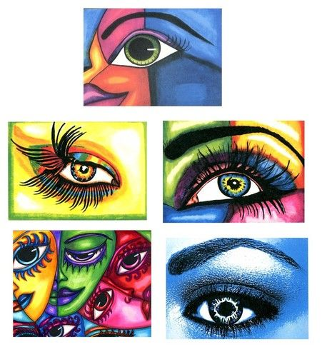 womens eye eyes abstract surreal original aceo art prints By Vella