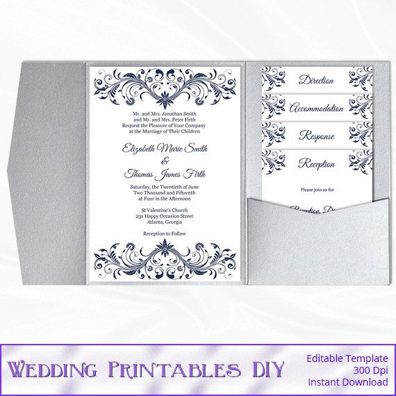 Navy Blue, DIY Pocket Fold Wedding Invitation Set