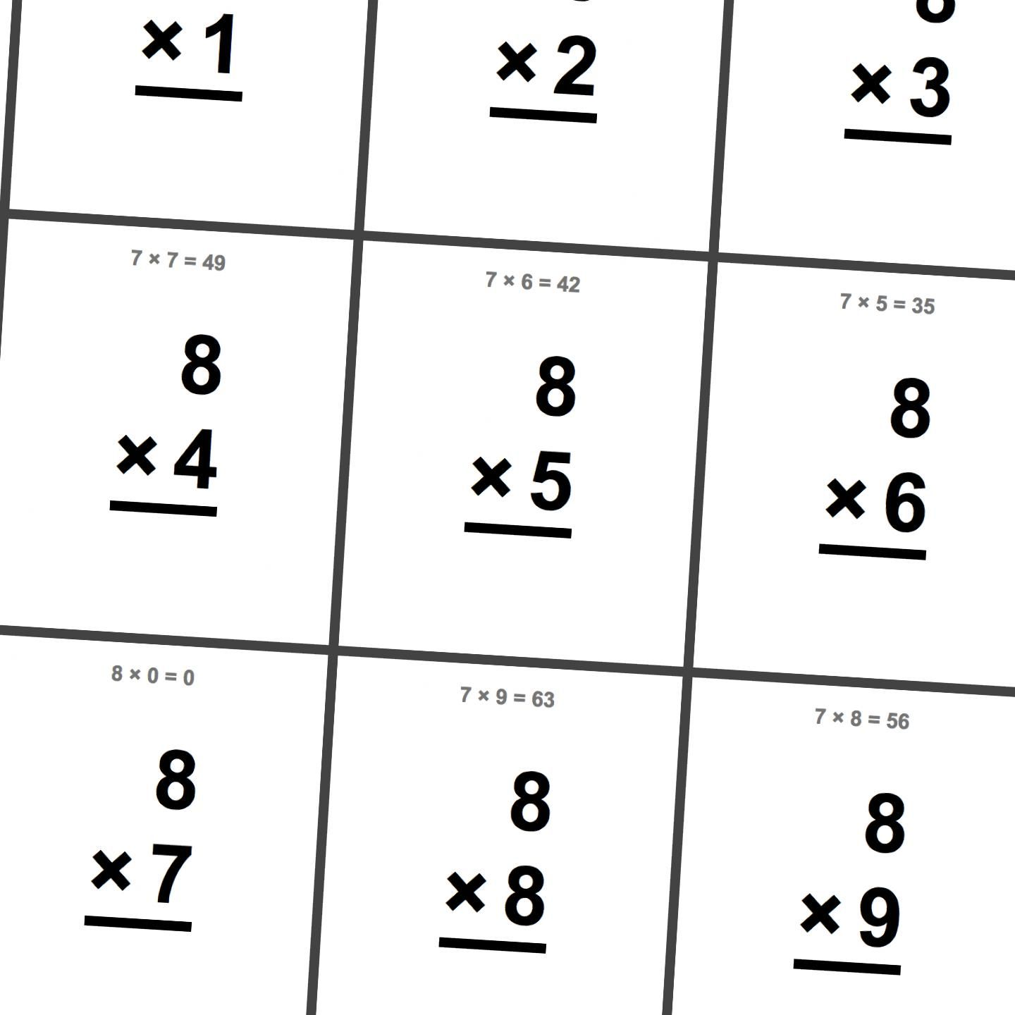 Free Printable Flash Cards For Multiplication Math Facts