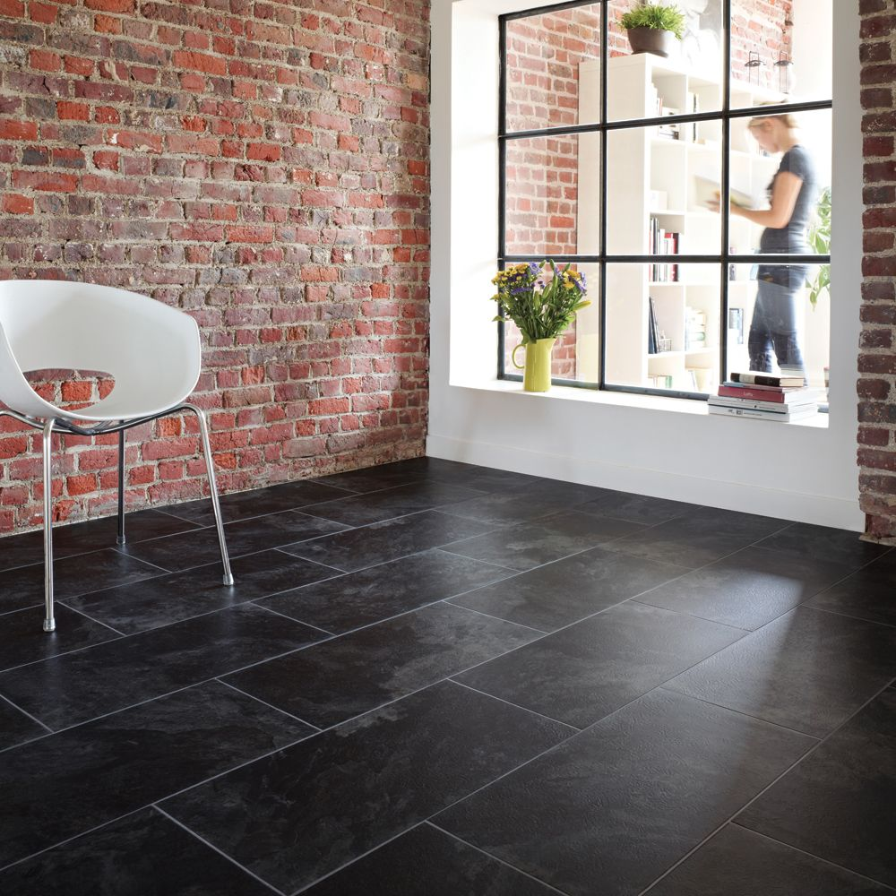 Slate looking tile floors slate tiles this wordpress for Dark tile kitchen floor