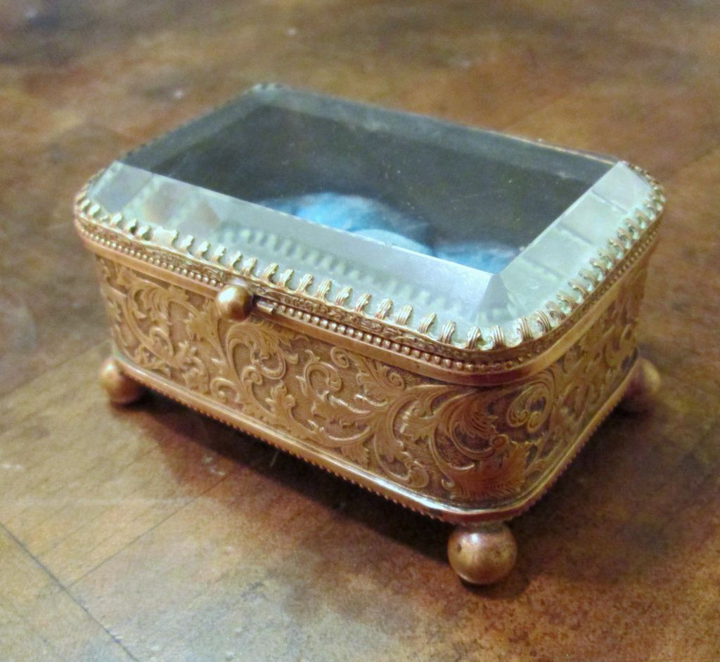 Vintage Brass With Beveled Glass Top Trinket Box Circa 1910