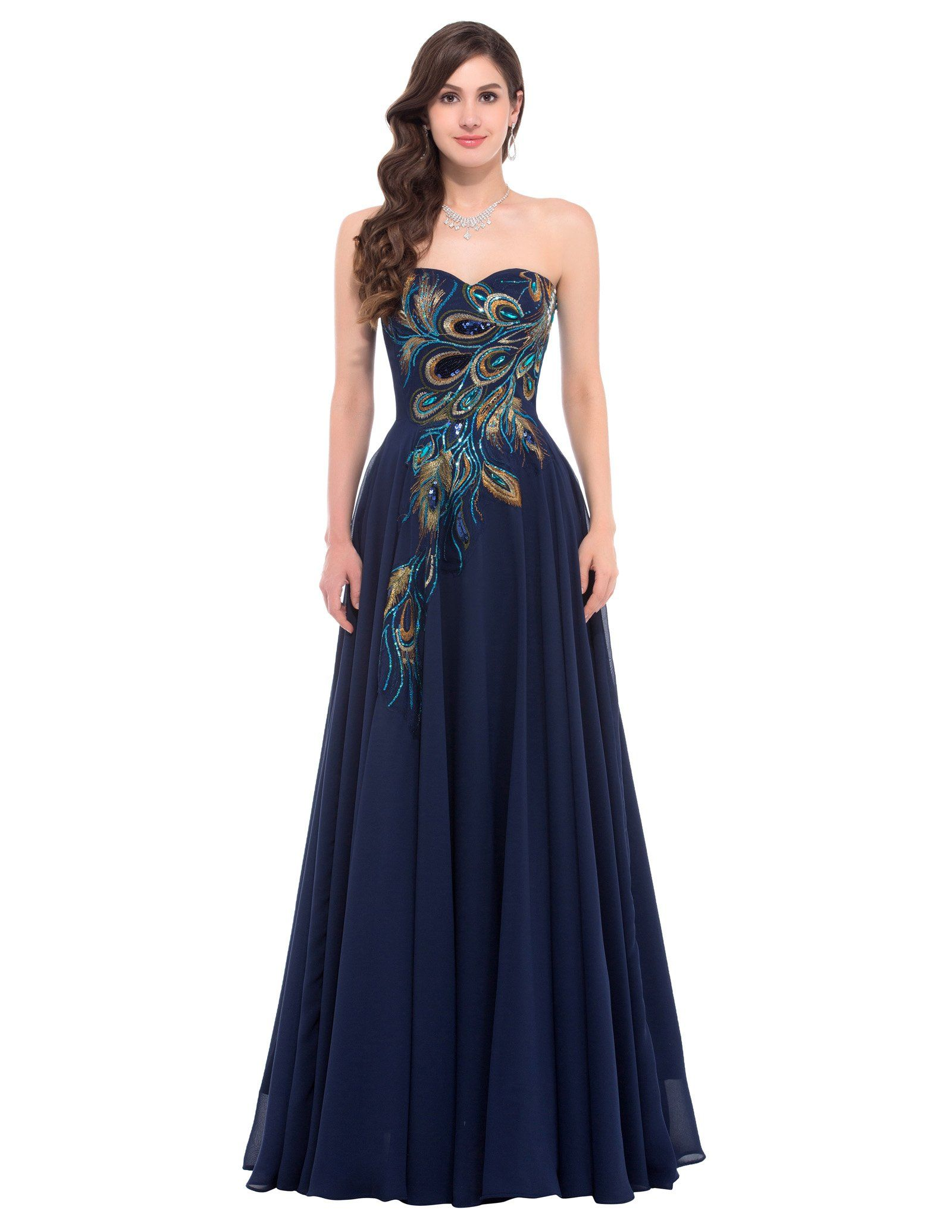 Amazon.com: GRACE KARIN® Long Strapless Embroidery Prom ...